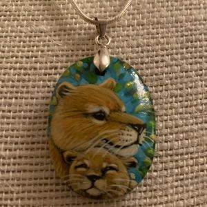 VTG Lioness & lion cub hand painted pendant